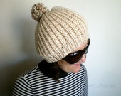 SALE % 25 off Women Slouchy Hat with Pompom, Sand Brown