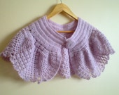 Crochet  Bolero in Lilac Pink, Wedding Shrug, Bridal Cape