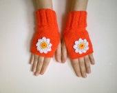 Orange Fingerless Gloves with Crochet Daisy Flowers