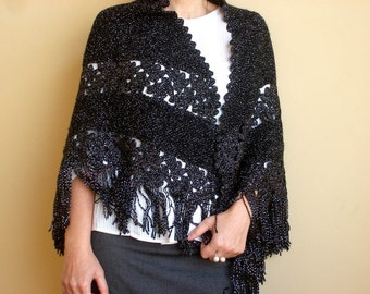 Black Womens Shawl Hand Knitted Shawl Crocheted Shawl