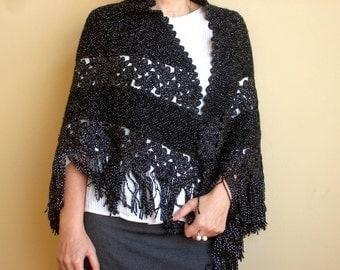 Black Womens Shawl Hand Knitted Shawl Crocheted Shawl