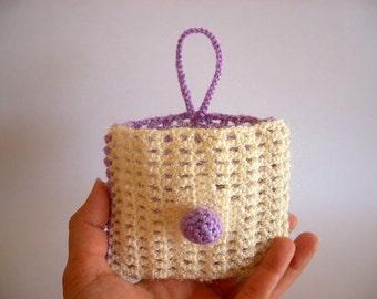 SALE %25 off Crochet Mini Purse, Ivory Purple