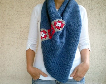 Women Poncho Blue Shawl Scarf Sweater with Afghan Squares