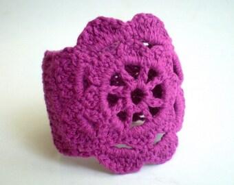 Purple Crochet Lace Bracelet, Floral Wrist Band