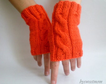 Orange Fingerless Gloves, Knit Gloves, Cable Knit-Braided Pattern Mitten