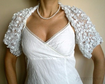Bridal Bolero, Wedding Shrug, Wedding Wrap in White with Silky Ribbon Feathered