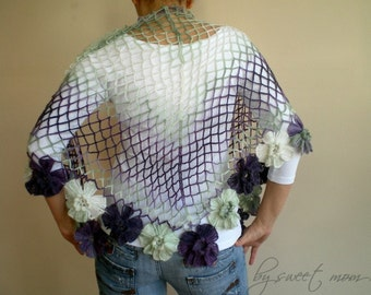 Crochet  Shawl in Lilac Purple Green, Wedding Bridal Shawl