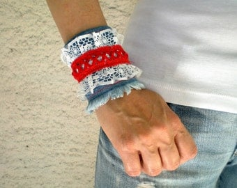 SALE %25 off Boho Chic Recycled Denim Cuff Wristband with Lace, Women Bracelet in Blue White Red