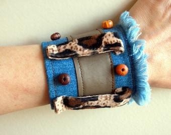 SALE % 25 Off Recycled denim and leopard cuff  wristband AOD Bungle in the Jungle