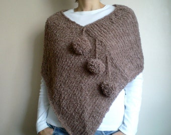 Brown Poncho, Brown Shawl, Women Poncho with Pom Pom
