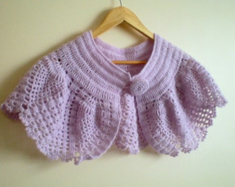 Crochet  Bolero in Lilac Pink, Wedding Shrug, Bridal Cape