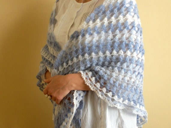 Crochet Shawl Blue White Mohair Stole Shoulder Wrap Triangle Shawl