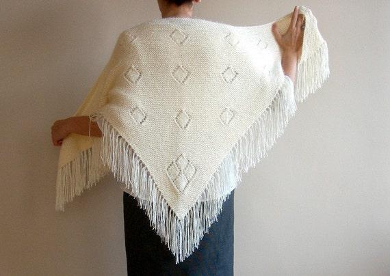 Knit Wedding Shawl Women Shrugs Bridal Cape Capelet Cowl in Cream Ivory