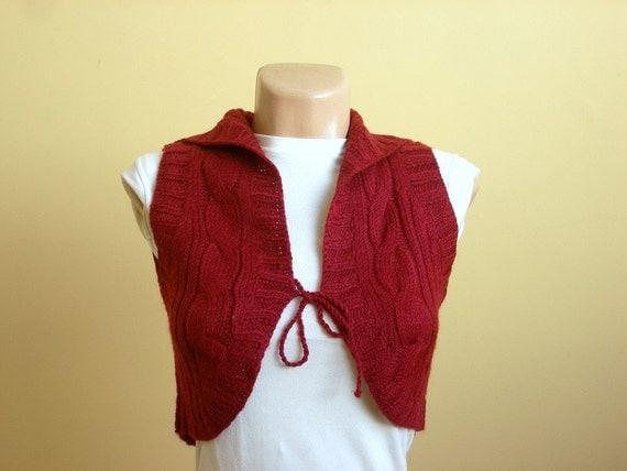 SALE % 25 off Burgundy Red Women Shrug, Wool Bolero