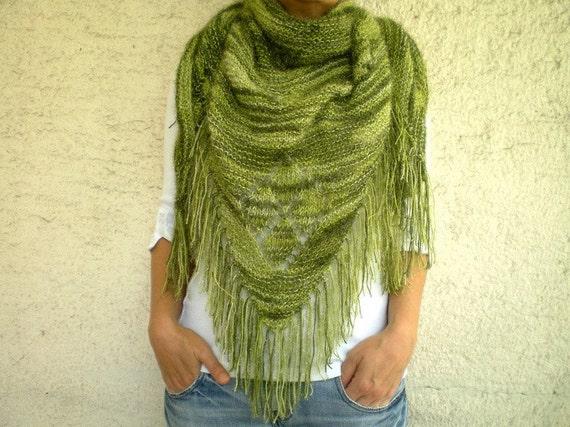 Sparkling Green Crystal Triangle Knit Shawl