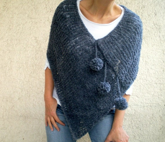 Women Poncho with Pom pom in  Dark Gray Blue Tunic Sweater