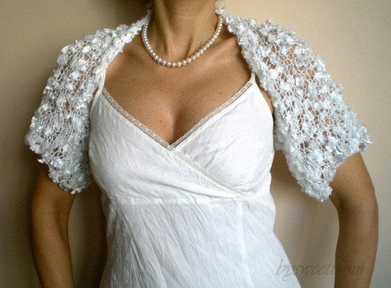 Bridal Bolero, Wedding Shrug, Wedding Wrap in White with Silky Ribbon Feathered