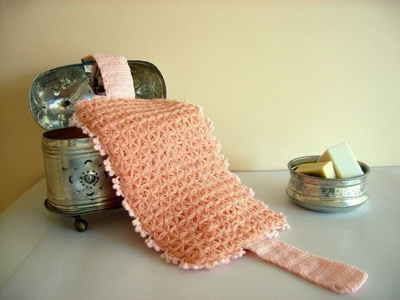 SALE % 25 off Salmon Pink Cotton Bath Wash Cloth
