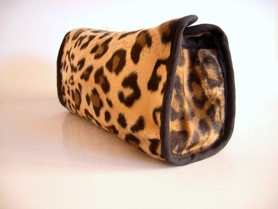 SALE % 25 off Furry Fabric Leopard Handbag, Brown Clutch