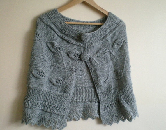 Gray Cape, Women Cardigan, Hand Knitted Bolero