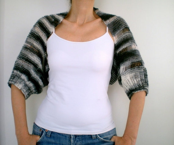 SALE %25 off Short Sleeved Hand Knitted Shrug, Blended Black White