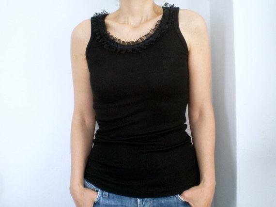 Black Tshirt Top Tank Sleeveless Women Tshirt Summer Fashion