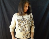 HOLIDAY SALE Vintage Sweater: Leopard Print Hand Painted Design 1980s