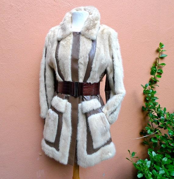 Vintage Fur and Leather Jacket -60's 70's Blonde Mink Fur-Stroller Coat Size Medium