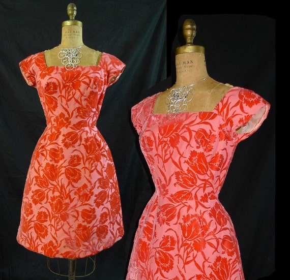 Vintage 1950s Coral Red Party Dress-Cut Velvet -Wedding Prom Bombshell-Nipped Waist Bell Petite-Small FREE USA Shipping