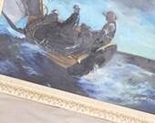 Weathering The Storm....Vintage Seafarer Painting