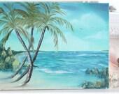 Aqua Beach....Vintage Tropical Island Painting