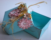 Country Chic Turquoise Gift Box - Birthday - Wedding - Mother's Day - Flower Bouquet - Wild Flowers