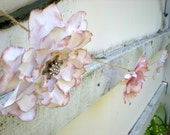 Romantic Paper Flower Garland -  White and Pink Shabby Chic Flowers - Wedding Decoration - Feminine - Woodland Whimsical