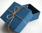Navy Blue Gift Box - Twine Bow - Christmas Blue Wrapping - Man Birthday - Boy Birthday - Rustic Gift Box