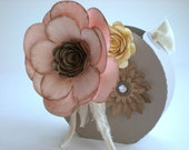 Romantic Shabby Chic Medium Gift Bag - Blush Pink - Tan Gray - Neutral Colors - Pink Flower - Whimsical