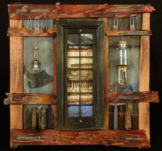 Love Potion:  Assemblage Art mixed media original with collage by Leslee Lukosh of Foundturtle in Portland, Oregon