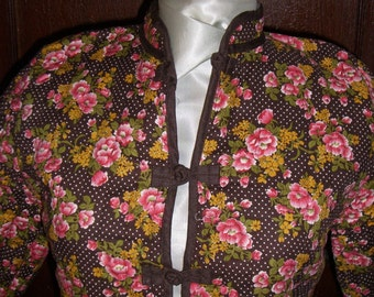 Asian Mandarin  Collar  Brown, White Polka Dot Quilted Cotton Jacket, Pink and Yellow Flowers. Vintage Overstock.  FREE DOMESTIC SHIPPING.