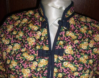 Floral Asian Mandarin Collar Quilted Cotton Jacket. Black with Yellow, Brown, Pink Flowers. Vintage Overstock  FREE DOMESTIC SHIPPING.