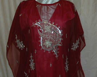 SALE  was 174.95.  Burgundy Georgette, Embroidered Silver Sequin Kaftan Dress.   A Designers Den handmade original.  FREE domestic  shipping