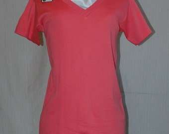 Bright  Pink V-Neck Short Sleeve T-Shirt.  Designers Den overstock, never worn.  FREE DOMESTIC SHIPPING.