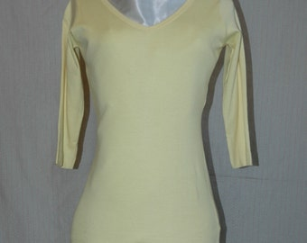 Lemon Custard Yellow Front and Back  V-Neck Fitted Three Quarter Sleeve T-Shirt.  Overstock, never worn.  FREE domestic shipping.