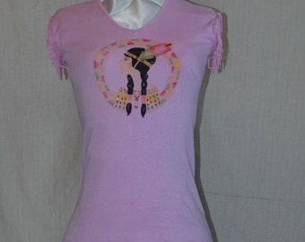 SALE WAS 11.95. Pink Pocahontas Beaded and Tasseled Sleeveless T-Shirt. Designers Den vintage overstock, never worn. FREE domestic shipping.