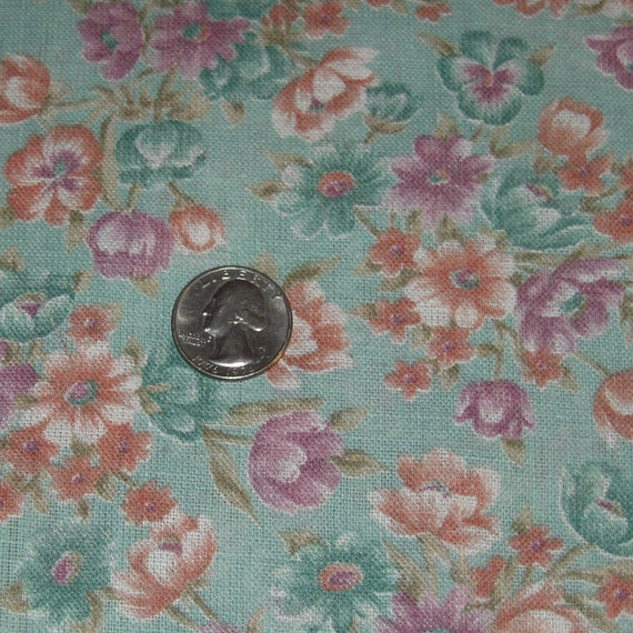 Sea Green Floral Fabric Yardage.  Rare to find.