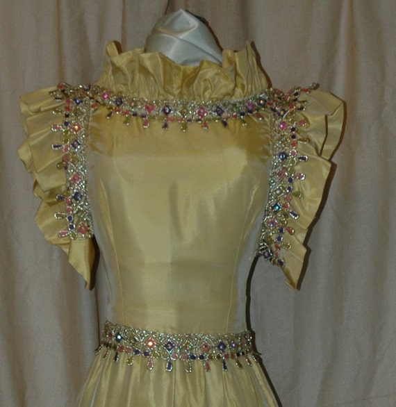 SALE. 89.95. Haute Couture Gold Iridescent Taffeta, Lace Trim Formal Dress. A Designers Den original handmade dress. FREE domestic shipping.