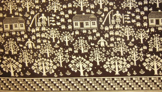 SALE. Jack and Jill Farm Print - 100 Percent Cotton Pique fabric yardage. Was 5.95