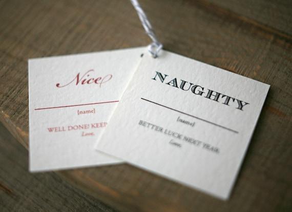 Nice Tag: Holiday Gift Tags: Naughty & Nice Christmas Tags