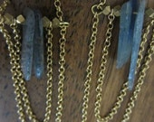 Little Muse Earrings-Ice blue Labradorite, African brass bead, gold plate chain chandelier