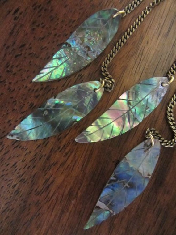 Spring Leaf earrings- Carved abalone shell leaves on antiqued brass BEAUTIFUL