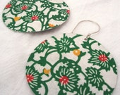Green Floral Vine Statement Earrings