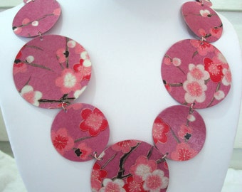 Pink Cherry Blossom Statement Necklace